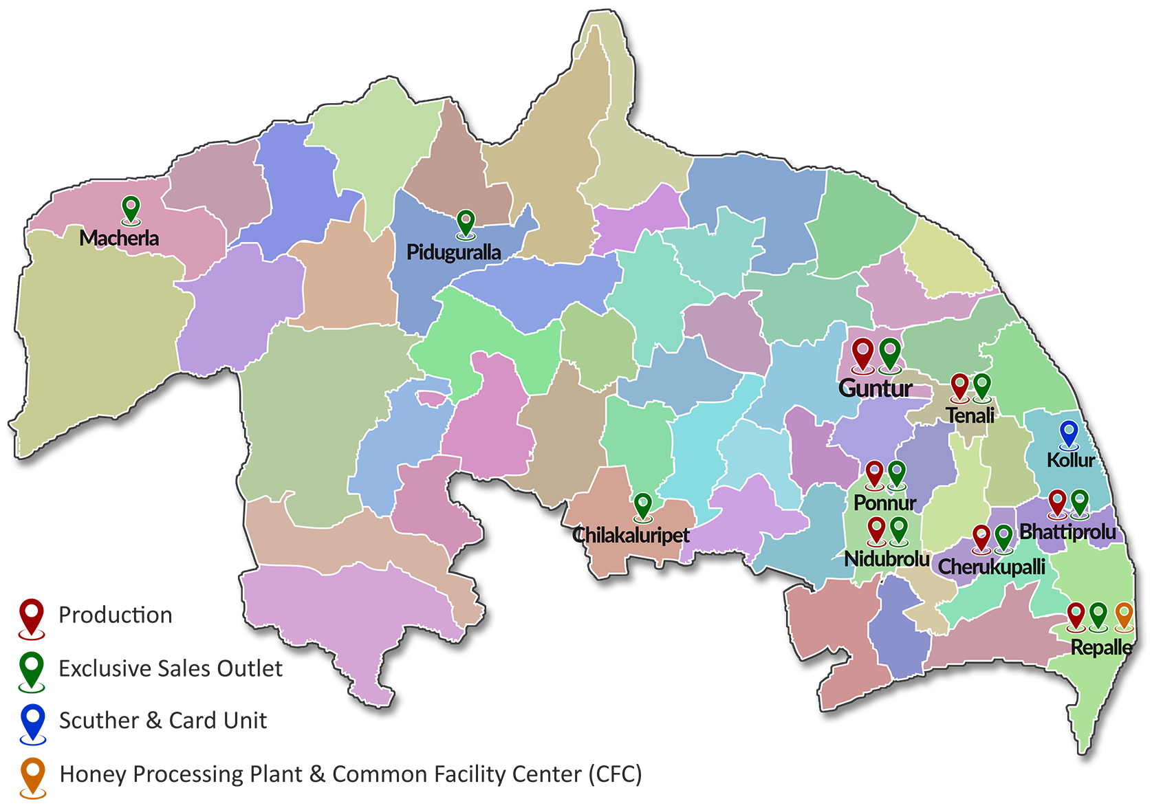 Guntur map - guntur khadi outlets